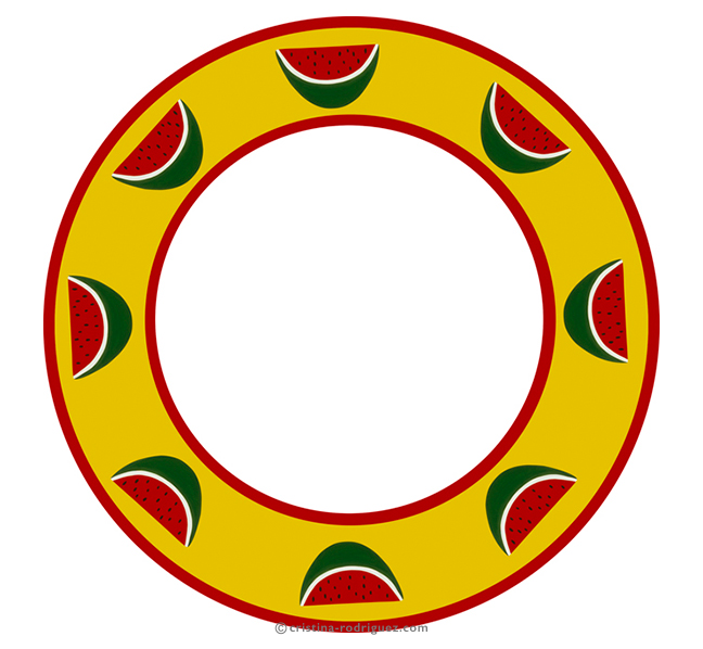 Yellow plate with watermelons