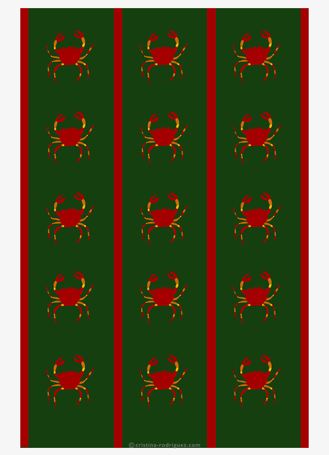 Green tableclothes with crabs