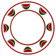 White plate with watermelons