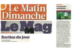 Cristina's new exhibition featured Le Matin Dimanche